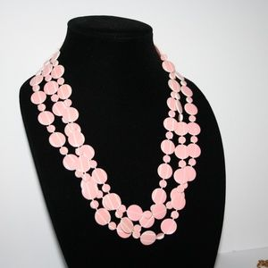 """Vintage Jewelry - Beautiful long pink and white necklace 74"""""""